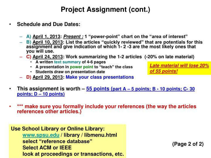 Project Assignment (cont.)