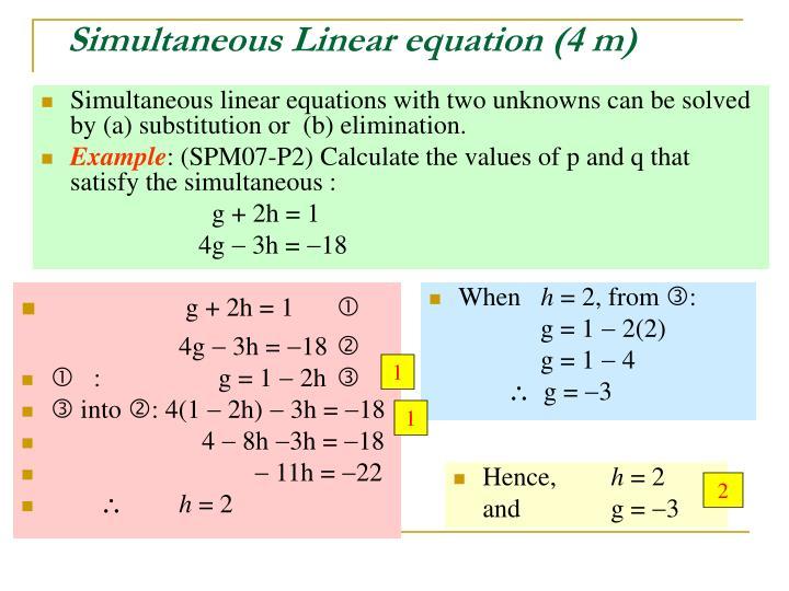 Simultaneous Linear equation (4 m)