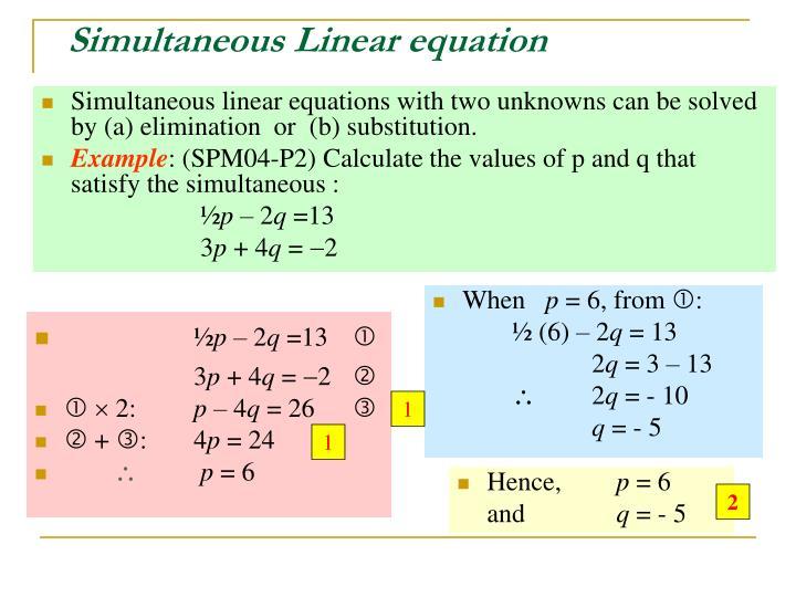 Simultaneous Linear equation