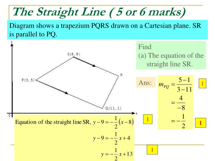 The Straight Line ( 5 or 6 marks)