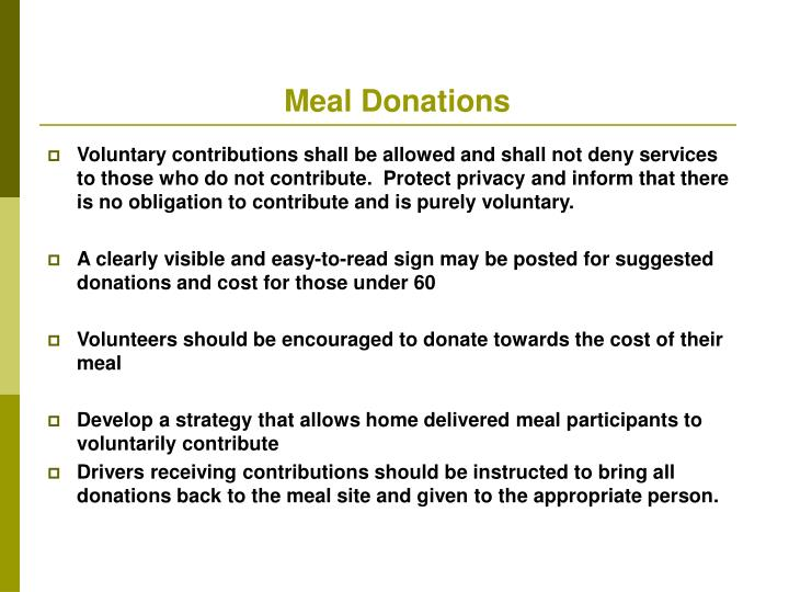 Meal Donations
