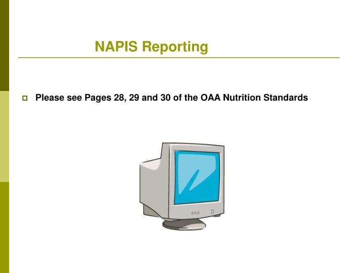 NAPIS Reporting