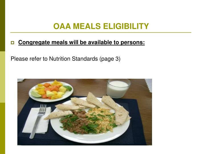 OAA MEALS ELIGIBILITY