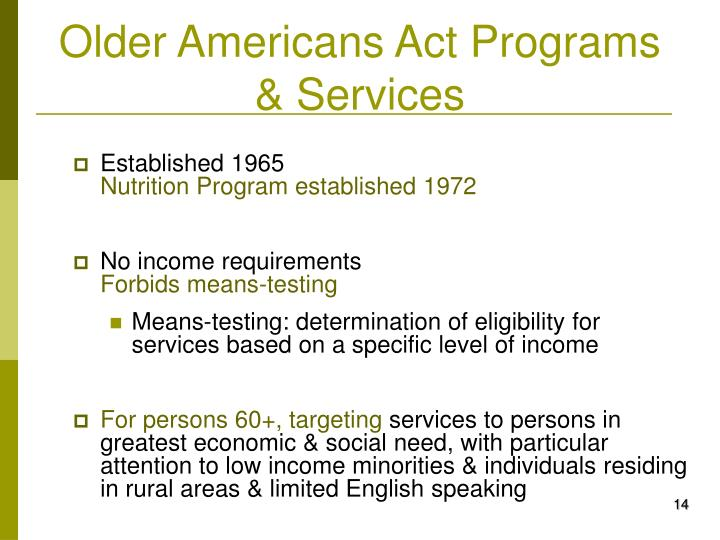Older Americans Act Programs & Services
