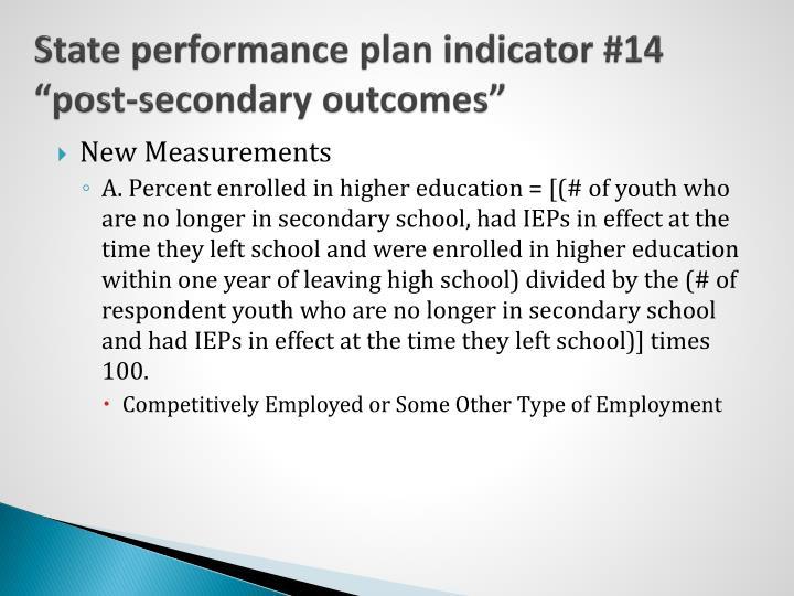 State performance plan indicator #14