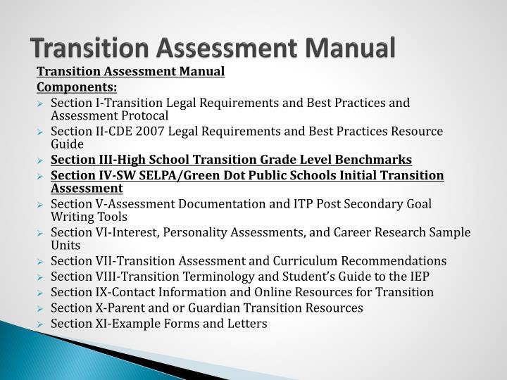 Transition Assessment Manual