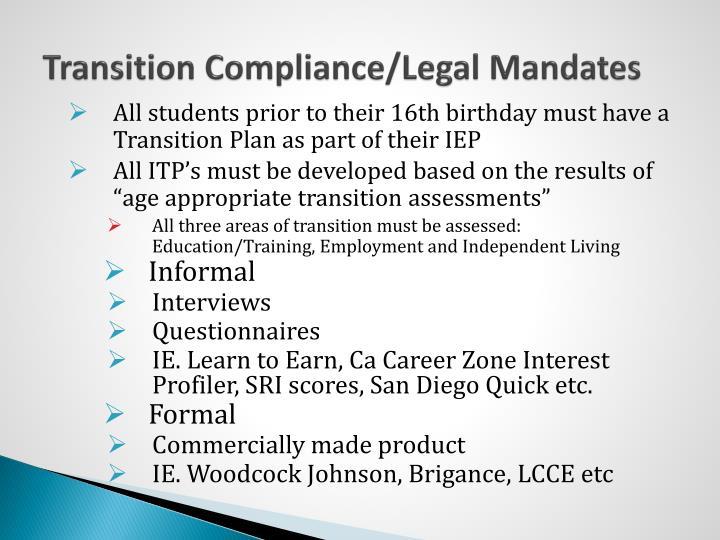 Transition Compliance/Legal Mandates