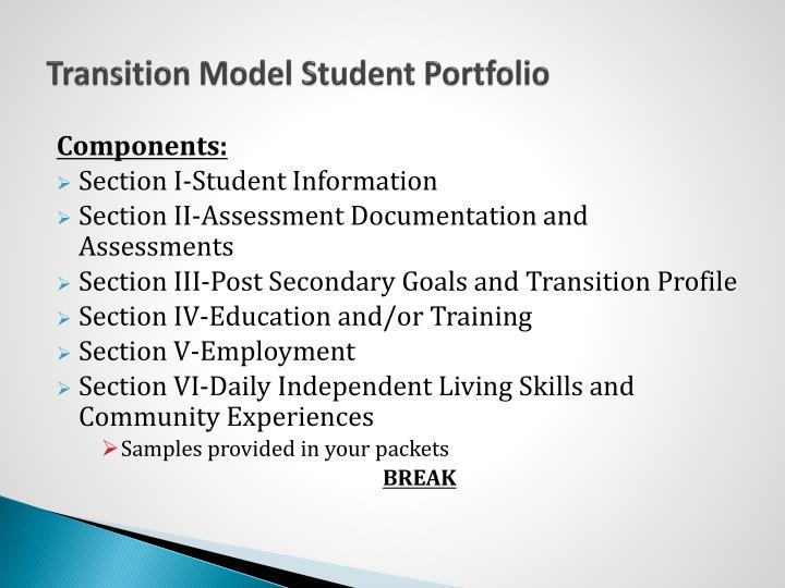 Transition Model Student Portfolio