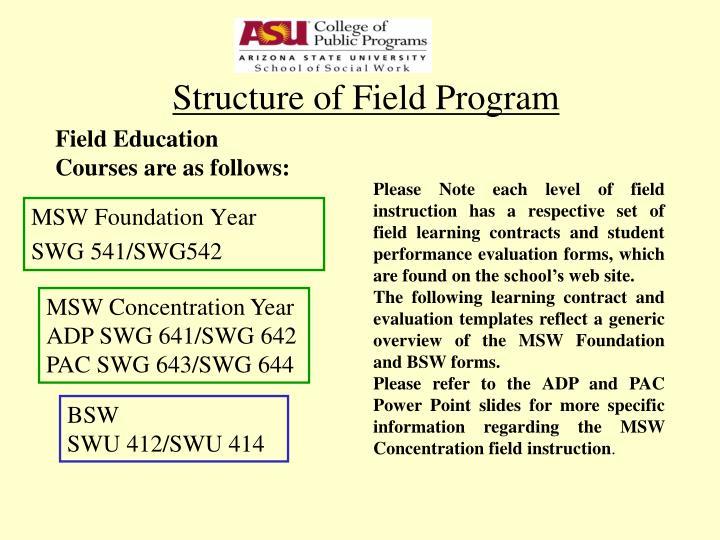 Structure of Field Program