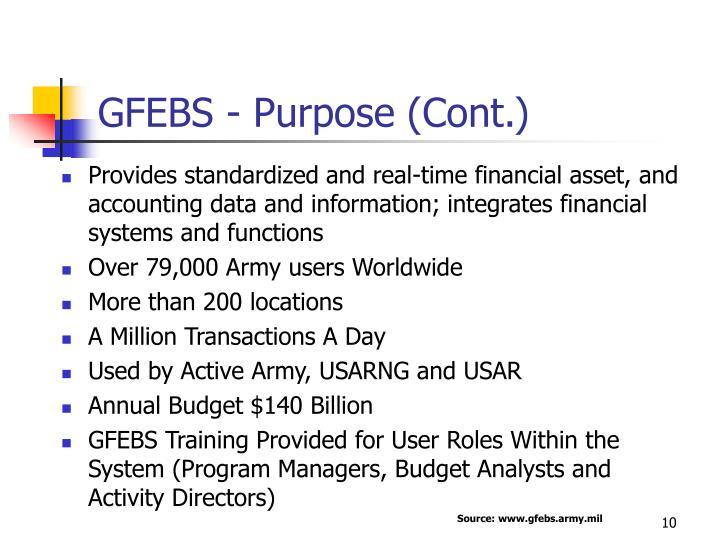GFEBS - Purpose (Cont.)