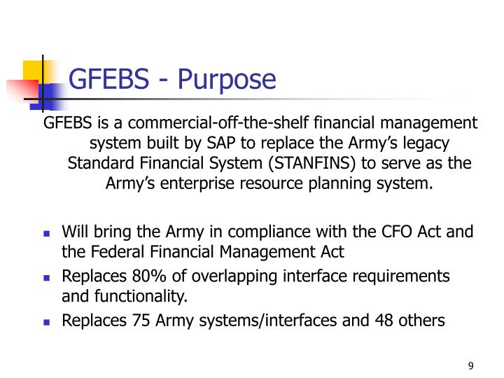 GFEBS - Purpose
