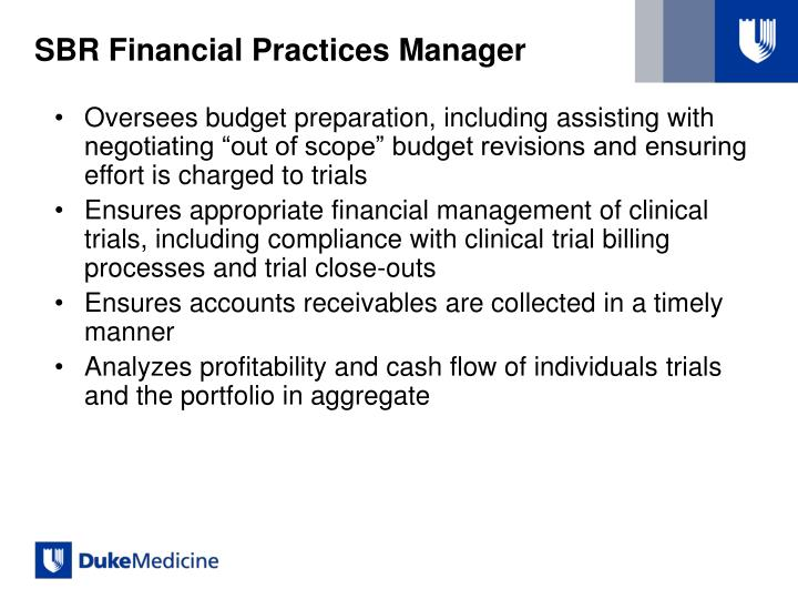 SBR Financial Practices Manager