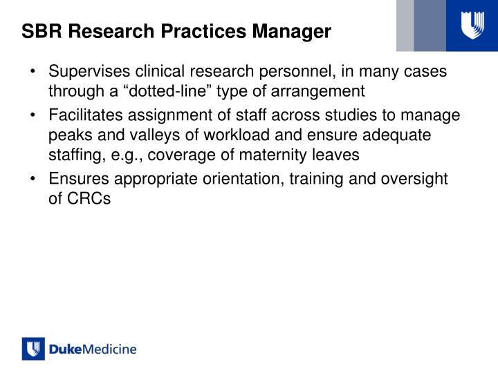 SBR Research Practices Manager