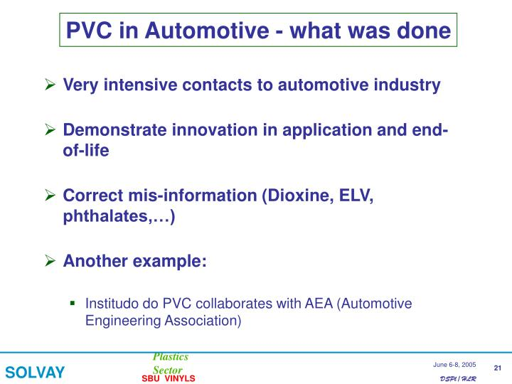PVC in Automotive - what was done
