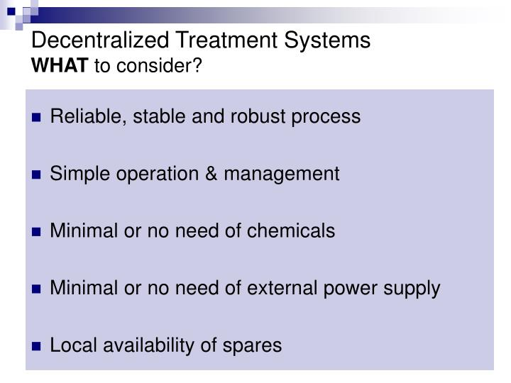 Decentralized Treatment Systems