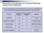 necessity of combination of treatment methods example olive oil wastewater