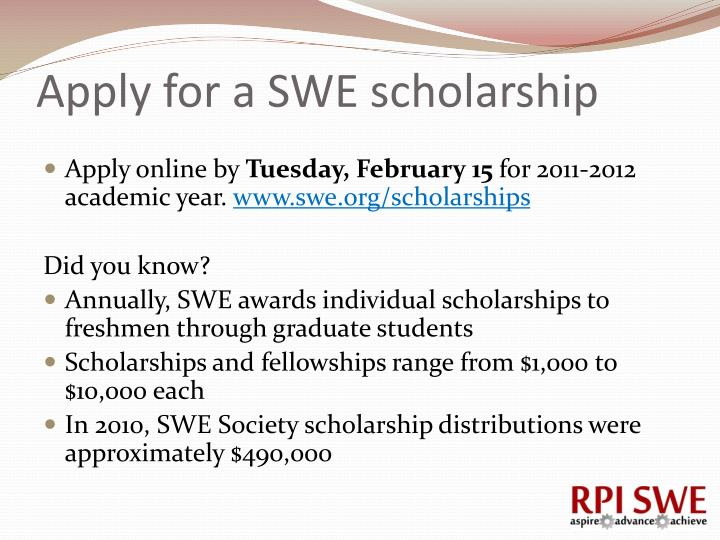 Apply for a SWE scholarship