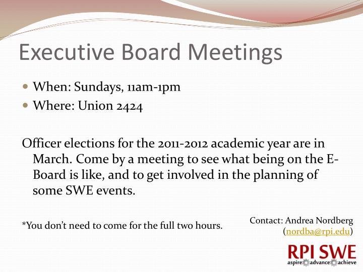 Executive Board Meetings