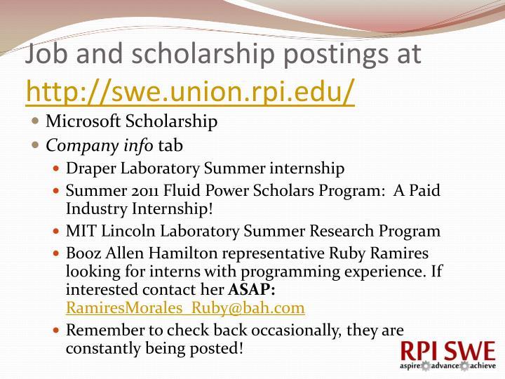 Job and scholarship postings at