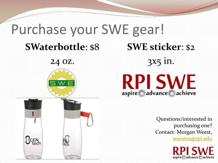 Purchase your SWE gear!