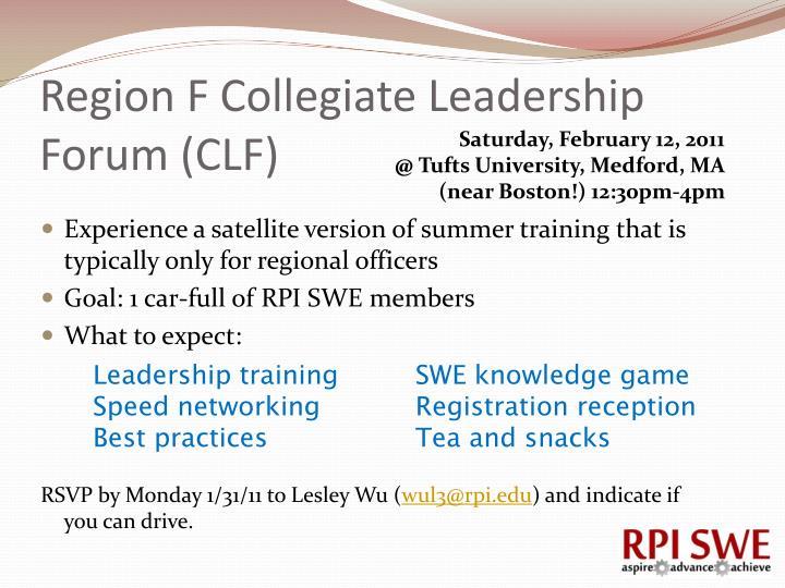 Region F Collegiate Leadership Forum (CLF)