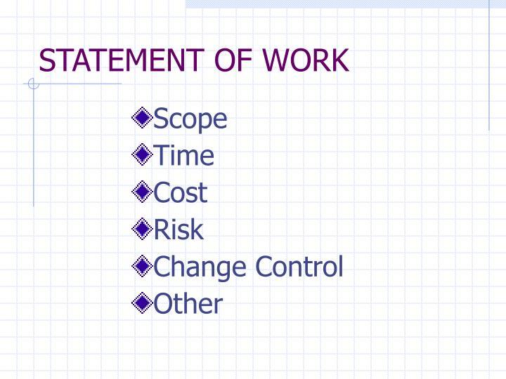 STATEMENT OF WORK