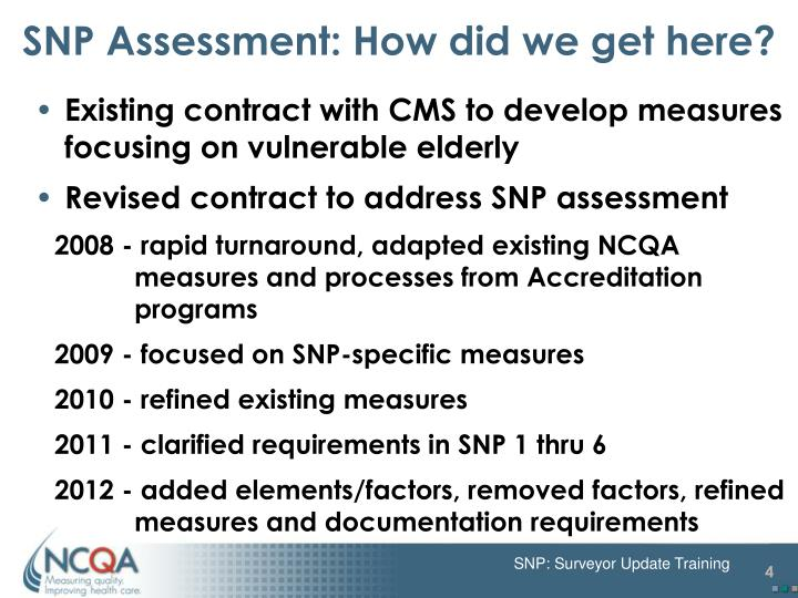 SNP Assessment: How did we get here?