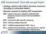 snp assessment how did we get here