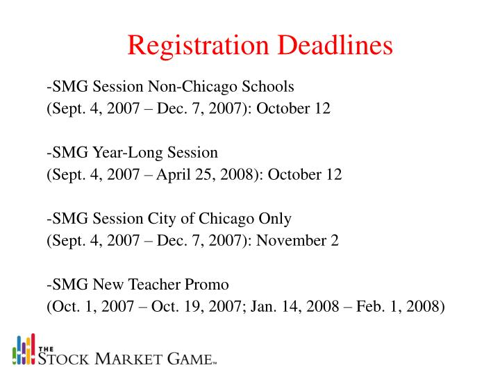 Registration Deadlines