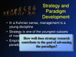 strategy and paradigm development