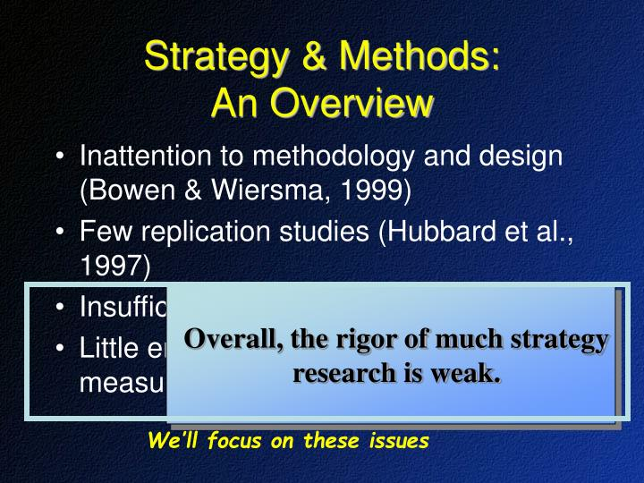 Overall, the rigor of much strategy research is weak.
