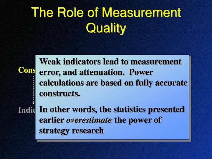 Weak indicators lead to measurement error, and attenuation.  Power calculations are based on fully accurate constructs.