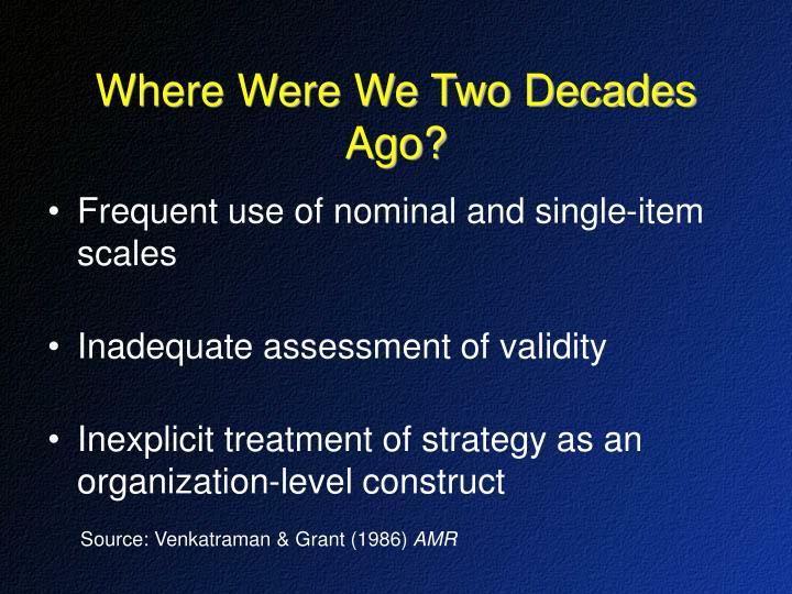 Where Were We Two Decades Ago?