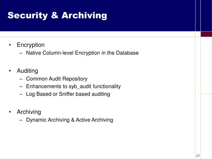 Security & Archiving