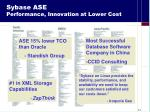 sybase ase performance innovation at lower cost