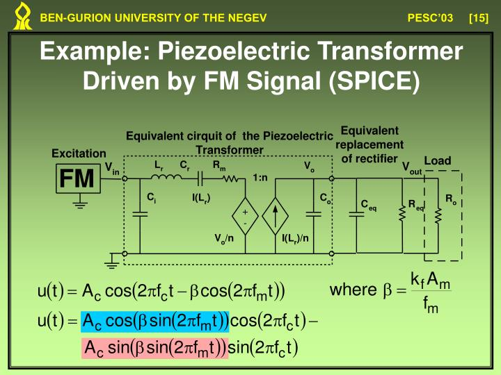 Example: Piezoelectric Transformer Driven by FM Signal (SPICE)