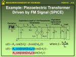 example piezoelectric transformer driven by fm signal spice4