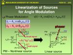 linearization of sources for angle modulation