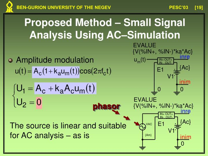 Proposed Method – Small Signal Analysis Using AC–Simulation