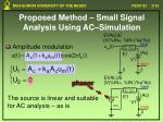 proposed method small signal analysis using ac simulation