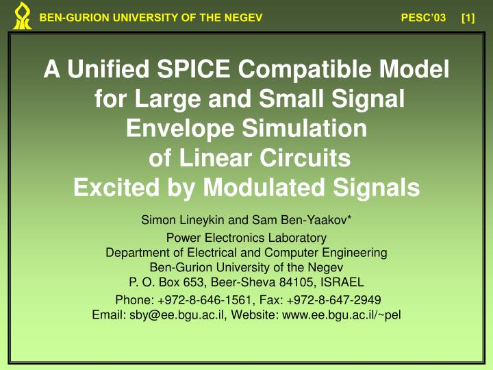 A Unified SPICE Compatible Model