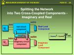 splitting the network into two cross coupled components imaginary and real1