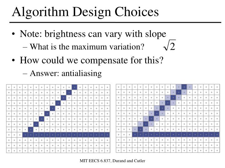 Algorithm Design Choices