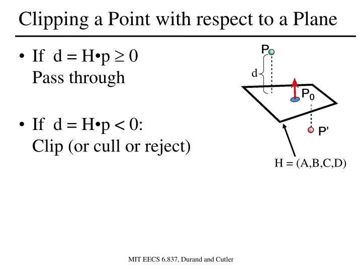 Clipping a Point with respect to a Plane