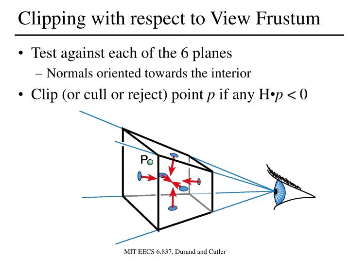 Clipping with respect to View Frustum