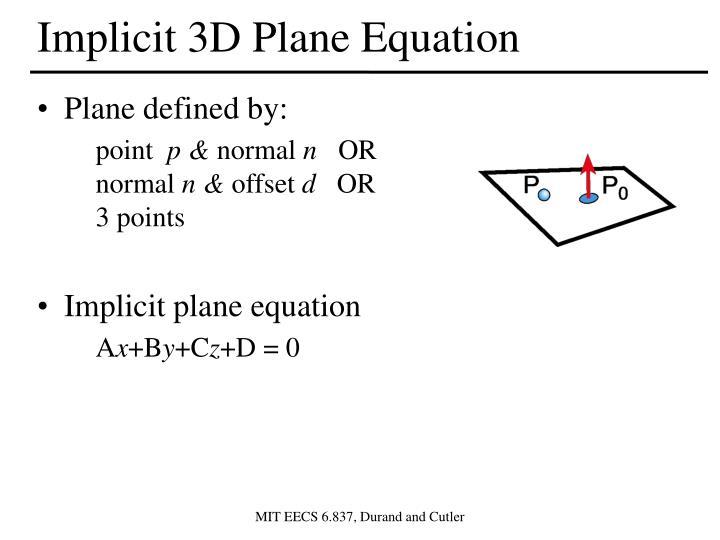 Implicit 3D Plane Equation