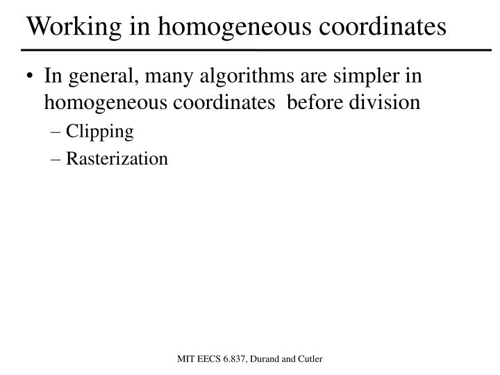 Working in homogeneous coordinates
