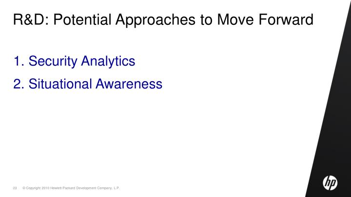 R&D: Potential Approaches to Move Forward