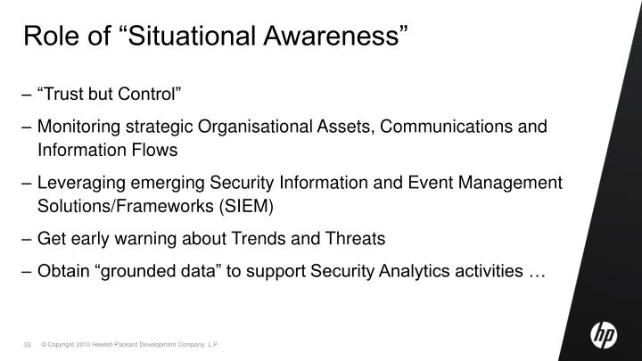 "Role of ""Situational Awareness"""