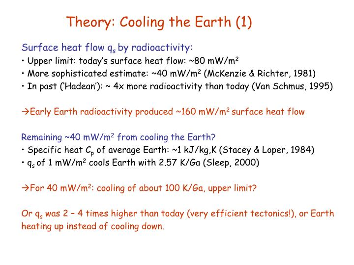 Theory: Cooling the Earth (1)